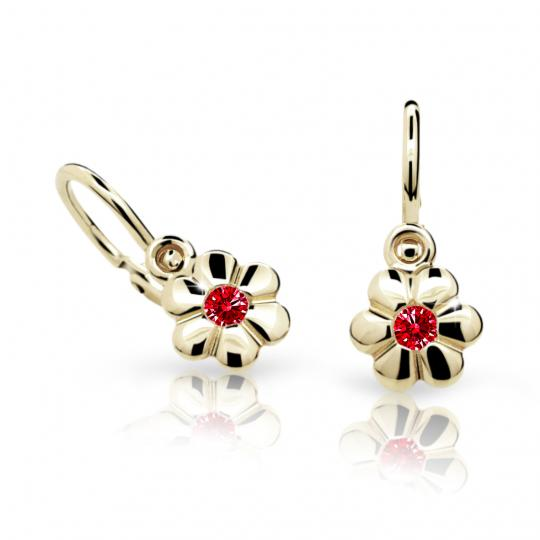 Baby earrings Danfil Flowers C1736 Yellow gold, Ruby Dark, Front backs