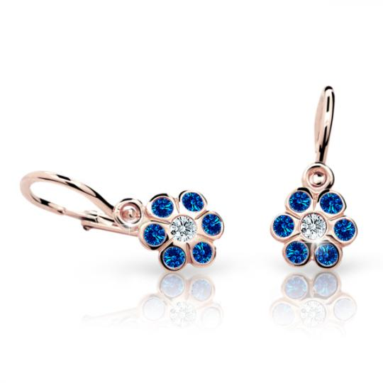 Baby earrings Danfil Flowers C1737 Rose gold, Dark Blue, Front backs