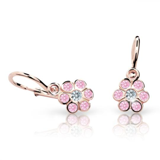 Baby earrings Danfil Flowers C1737 Rose gold, Pink, Front backs
