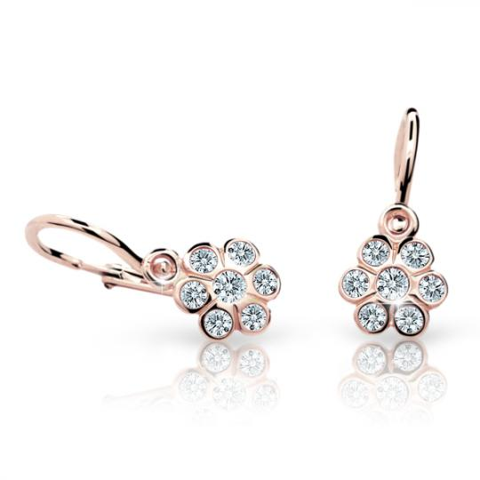 Baby earrings Danfil Flowers C1737 Rose gold, White, Front backs
