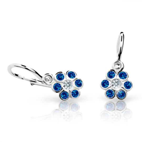 Baby earrings Danfil Flowers C1737 White gold, Dark Blue, Front backs
