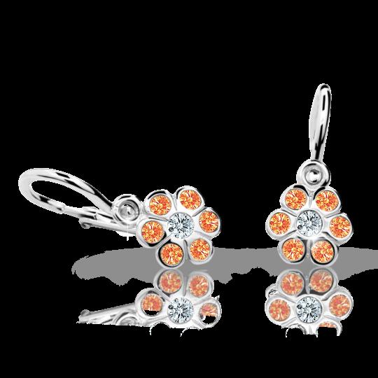 Baby earrings Danfil Flowers C1737 White gold, Orange, Front backs