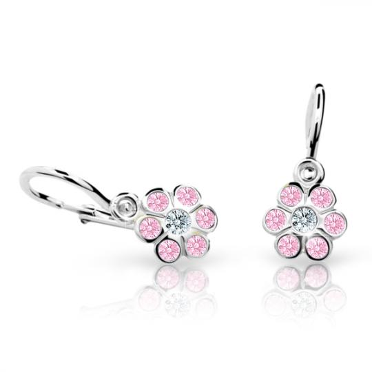 Baby earrings Danfil Flowers C1737 White gold, Pink, Front backs