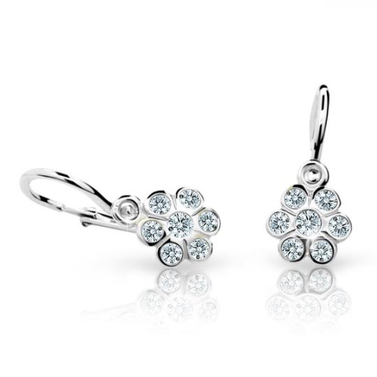 Baby earrings Danfil Flowers C1737 White gold, White, Front backs
