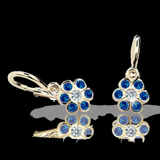 Baby earrings Danfil Flowers C1737 Yellow gold, Dark Blue, Front backs
