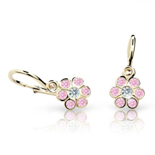 Baby earrings Danfil Flowers C1737 Yellow gold, Pink, Front backs