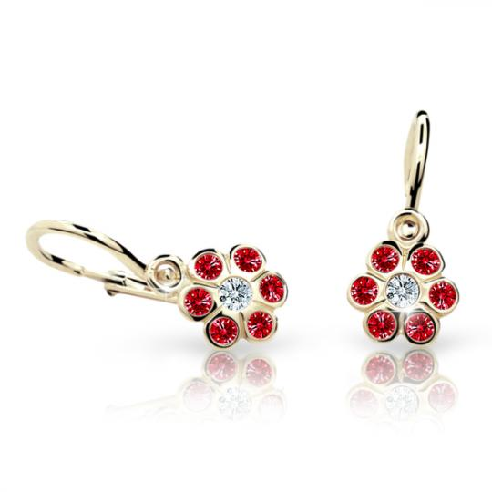 Baby earrings Danfil Flowers C1737 Yellow gold, Ruby Dark, Front backs