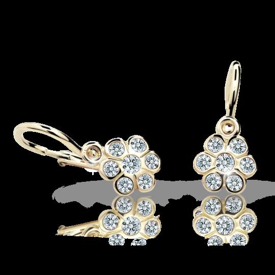 Baby earrings Danfil Flowers C1737 Yellow gold, White, Front backs