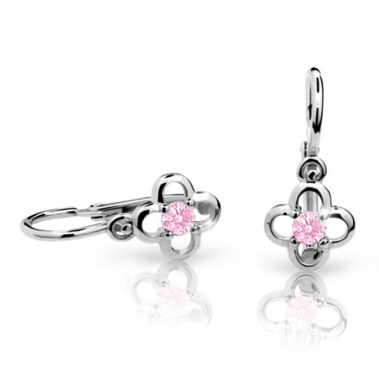 Baby earrings Danfil Flowers C1944 White gold, Pink, Front backs