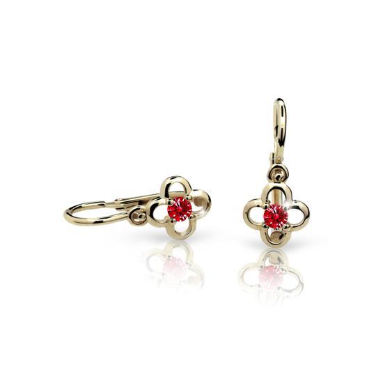 Baby earrings Danfil Flowers C1944 Yellow gold, Ruby Dark, Front backs