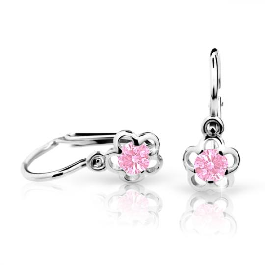 Baby earrings Danfil Flowers C1945 White gold, Pink, Front backs