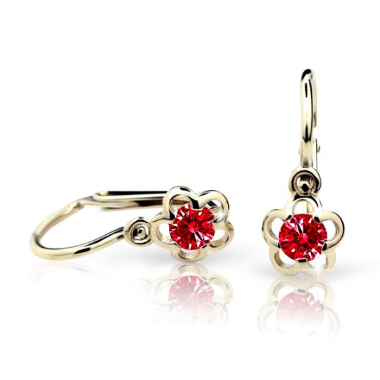 Baby earrings Danfil Flowers C1945 Yellow gold, Ruby Dark, Front backs
