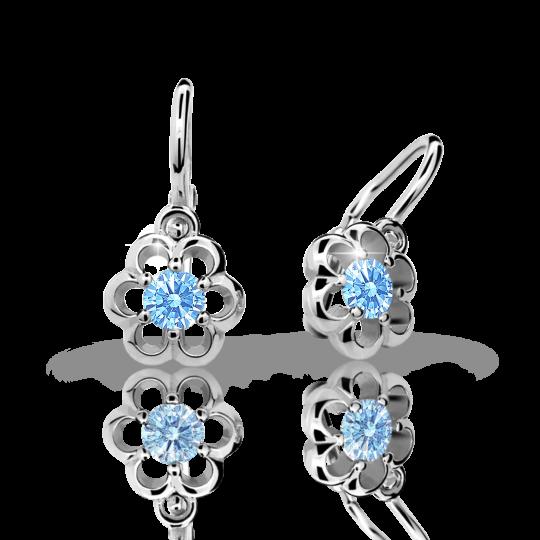 Baby earrings Danfil Flowers C1947 White gold, Arctic Blue, Front backs