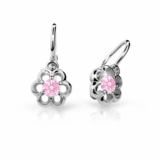 Baby earrings Danfil Flowers C1947 White gold, Pink, Front backs