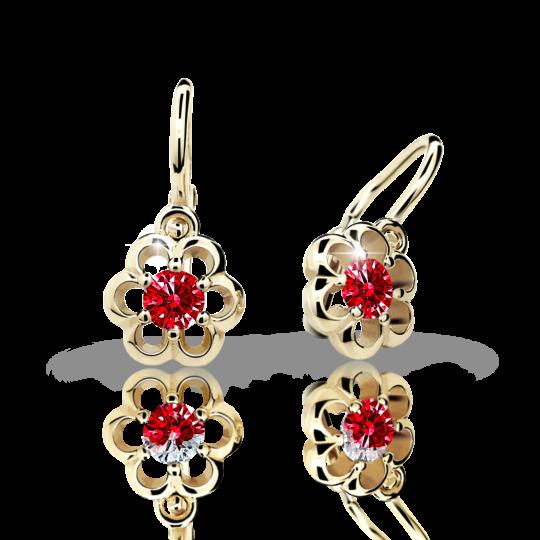 Baby earrings Danfil Flowers C1947 Yellow gold, Ruby Dark, Front backs