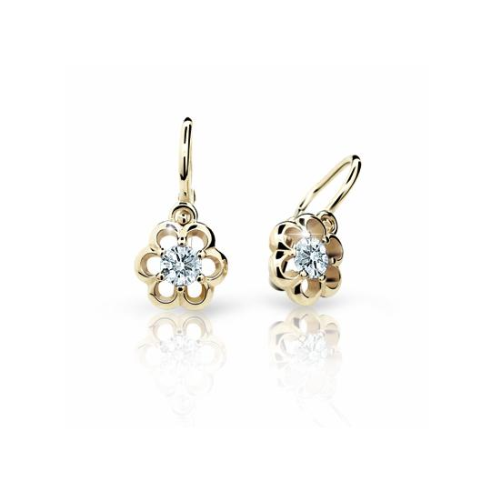Baby earrings Danfil Flowers C1947 Yellow gold, White, Front backs