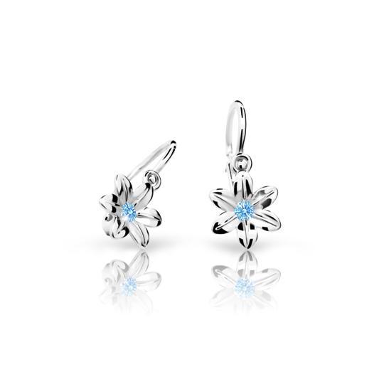 Baby earrings Danfil Flowers C1993 White gold, Arctic Blue, Front backs