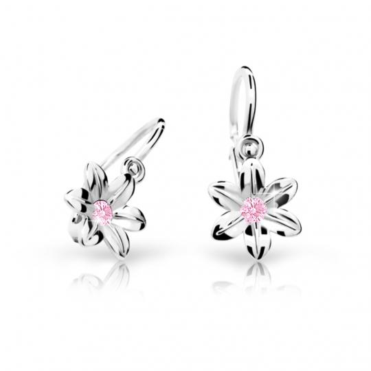 Baby earrings Danfil Flowers C1993 White gold, Pink, Front backs