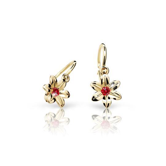 Baby earrings Danfil Flowers C1993 Yellow gold, Ruby Dark, Front backs