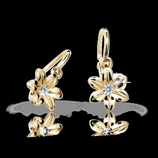 Baby earrings Danfil Flowers C1993 Yellow gold, White, Front backs