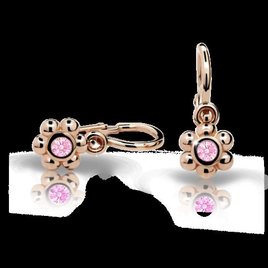 Baby earrings Danfil Flowers C2031 Rose gold, Pink, Front backs