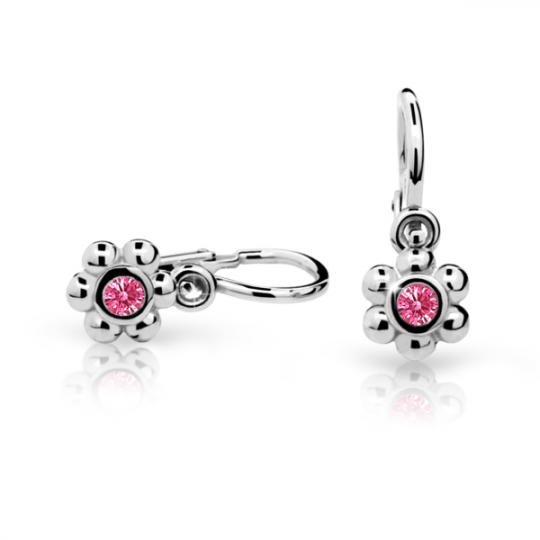 Baby earrings Danfil Flowers C2031 White gold, Tcf Red, Front backs