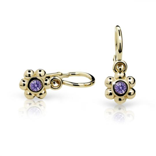 Baby earrings Danfil Flowers C2031 Yellow gold, Amethyst, Front backs