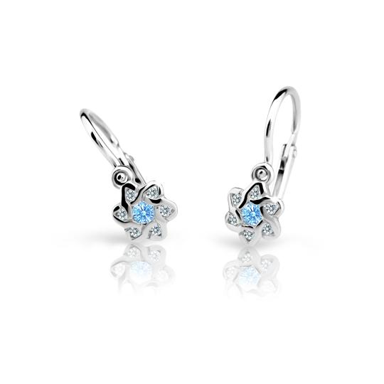 Baby earrings Danfil Flowers C2149 White gold, Arctic Blue, Front backs