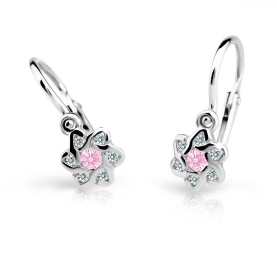 Baby earrings Danfil Flowers C2149 White gold, Pink, Front backs