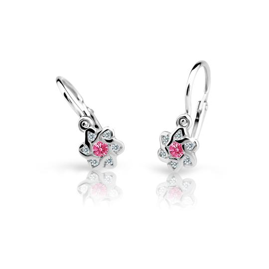 Baby earrings Danfil Flowers C2149 White gold, Tcf Red, Front backs