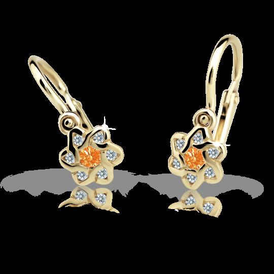 Baby earrings Danfil Flowers C2149 Yellow gold, Orange, Front backs