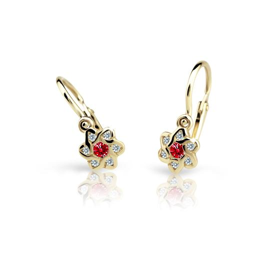 Baby earrings Danfil Flowers C2149 Yellow gold, Ruby Dark, Front backs