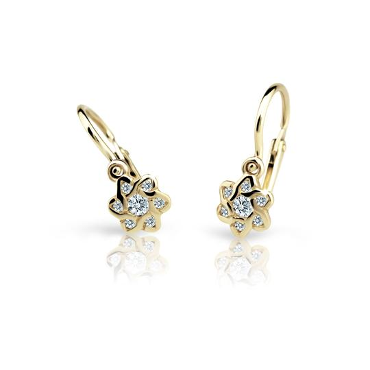 Baby earrings Danfil Flowers C2149 Yellow gold, White, Front backs