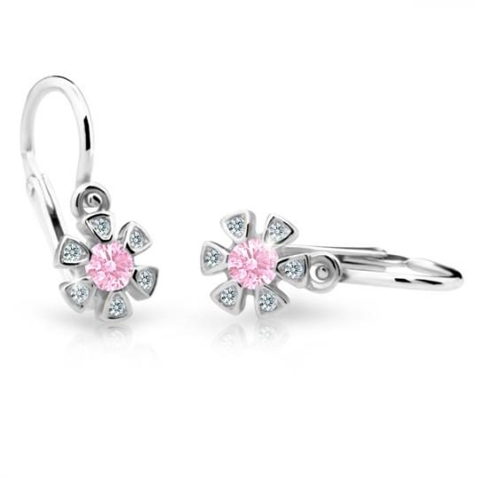 Baby earrings Danfil Flowers C2156 White gold, Pink, Front backs