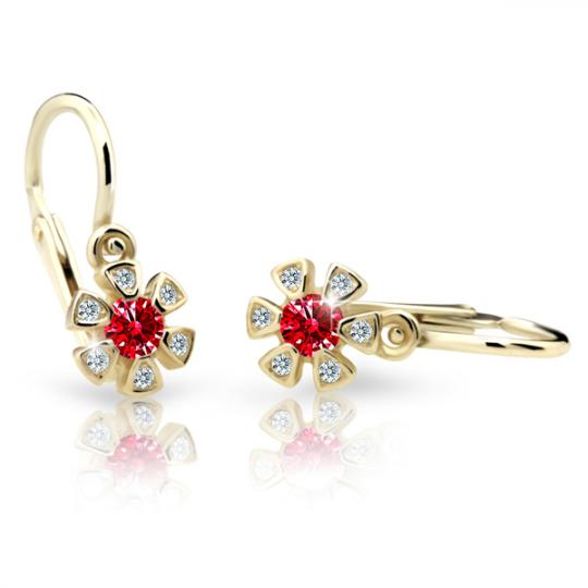 Baby earrings Danfil Flowers C2156 Yellow gold, Ruby Dark, Front backs