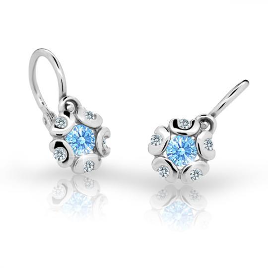 Baby earrings Danfil Flowers C2178 White gold, Arctic Blue, Front backs