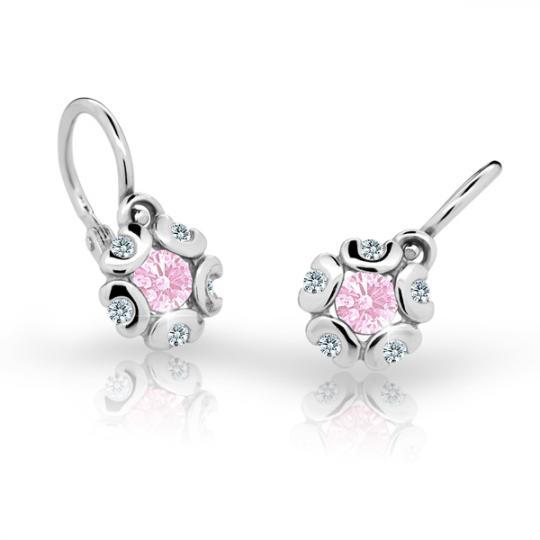 Baby earrings Danfil Flowers C2178 White gold, Pink, Front backs