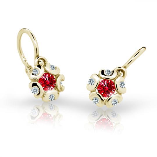 Baby earrings Danfil Flowers C2178 Yellow gold, Ruby Dark, Front backs