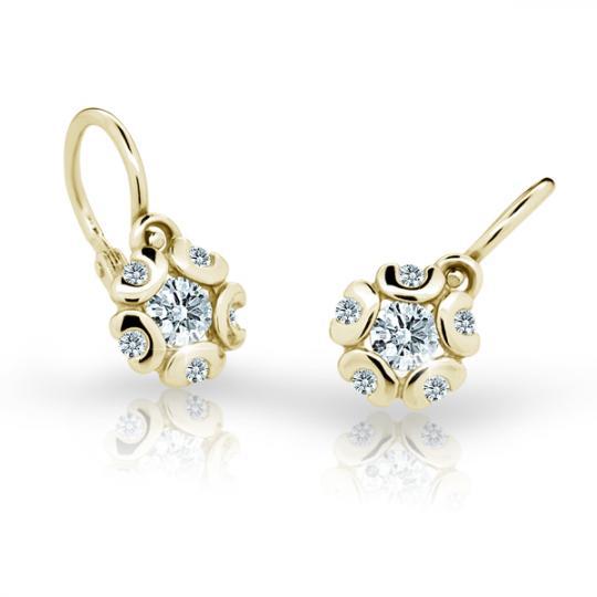 Baby earrings Danfil Flowers C2178 Yellow gold, White, Front backs