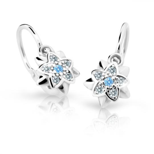 Baby earrings Danfil Flowers C2210 White gold, Arctic Blue, Front backs