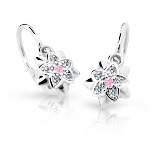 Baby earrings Danfil Flowers C2210 White gold, Pink, Front backs