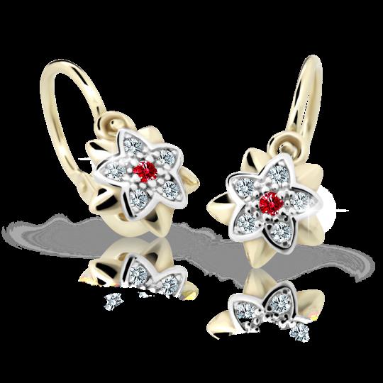Baby earrings Danfil Flowers C2210 Yellow gold, Ruby Dark, Front backs