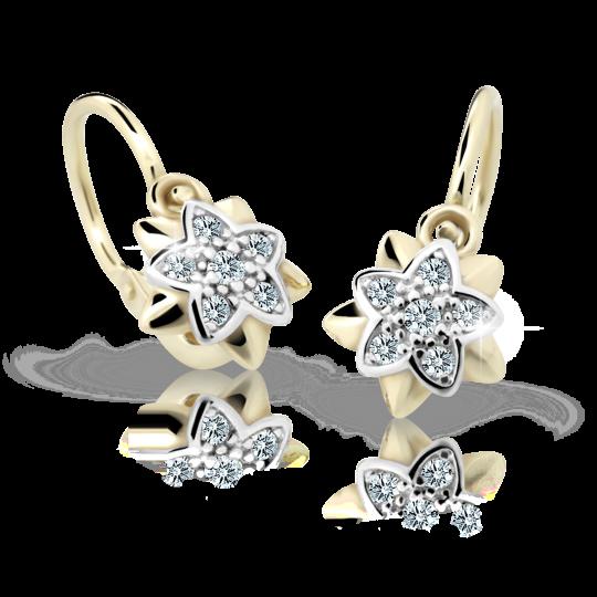 Baby earrings Danfil Flowers C2210 Yellow gold, White, Front backs