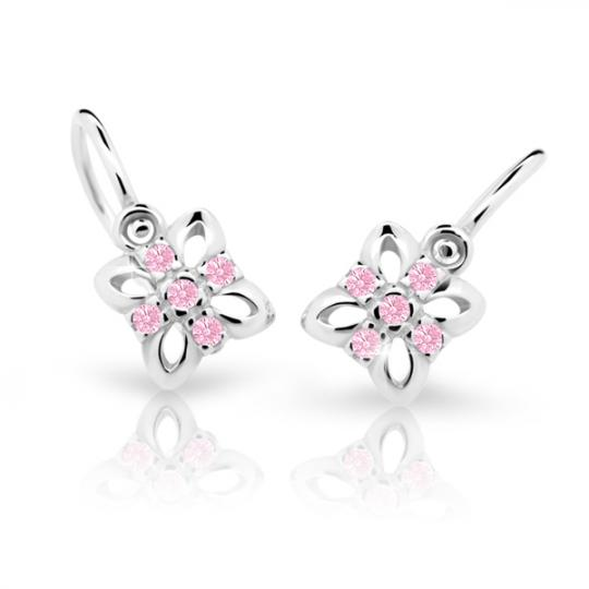 Baby earrings Danfil Flowers C2215 White gold, Pink, Front backs