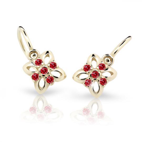 Baby earrings Danfil Flowers C2215 Yellow gold, Ruby Dark, Front backs