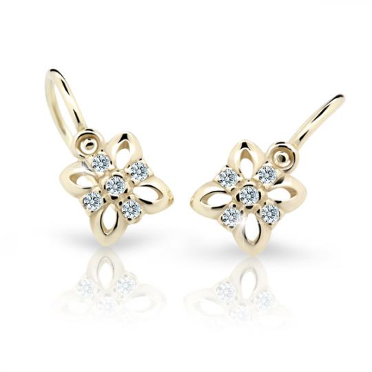 Baby earrings Danfil Flowers C2215 Yellow gold, White, Front backs