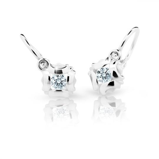 Baby earrings Danfil Flowers C2216 White gold, White, Front backs
