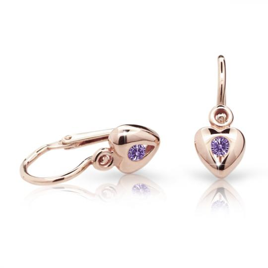 Baby earrings Danfil Hearts C1556 Rose gold, Amethyst, Front backs
