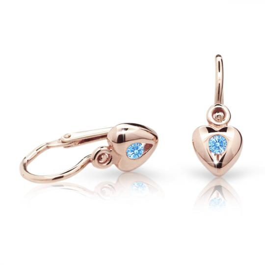 Baby earrings Danfil Hearts C1556 Rose gold, Arctic Blue, Front backs