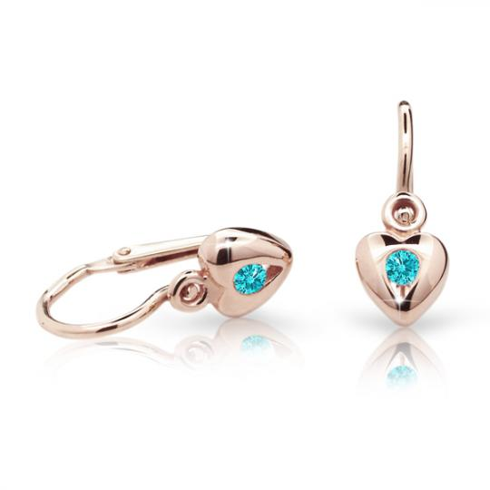 Baby earrings Danfil Hearts C1556 Rose gold, Mint Green, Front backs